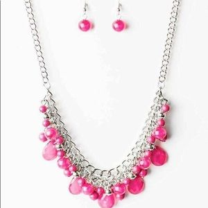 Woman pink necklace